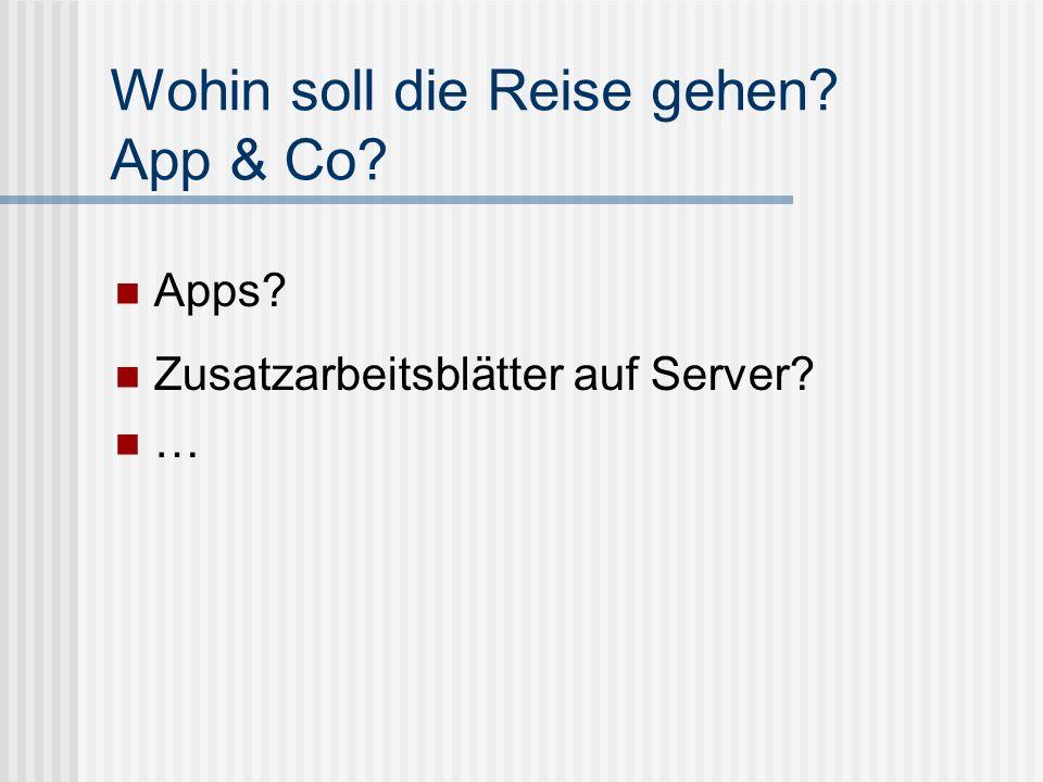 Wohin soll die Reise gehen? App & Co? Apps? Zusatzarbeitsblätter auf Server? …