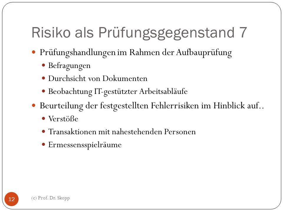Risiko als Prüfungsgegenstand 7 (c) Prof. Dr. Skopp 12 Prüfungshandlungen im Rahmen der Aufbauprüfung Befragungen Durchsicht von Dokumenten Beobachtun