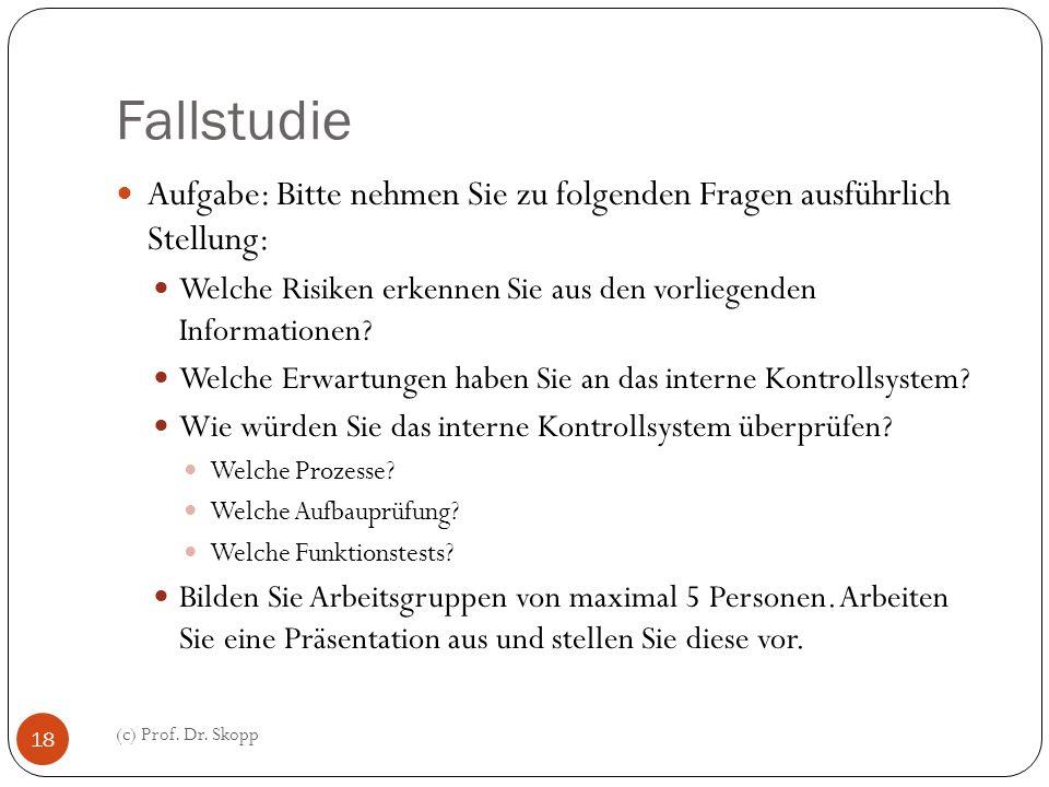 Fallstudie (c) Prof. Dr. Skopp 18 Aufgabe: Bitte nehmen Sie zu folgenden Fragen ausführlich Stellung: Welche Risiken erkennen Sie aus den vorliegenden