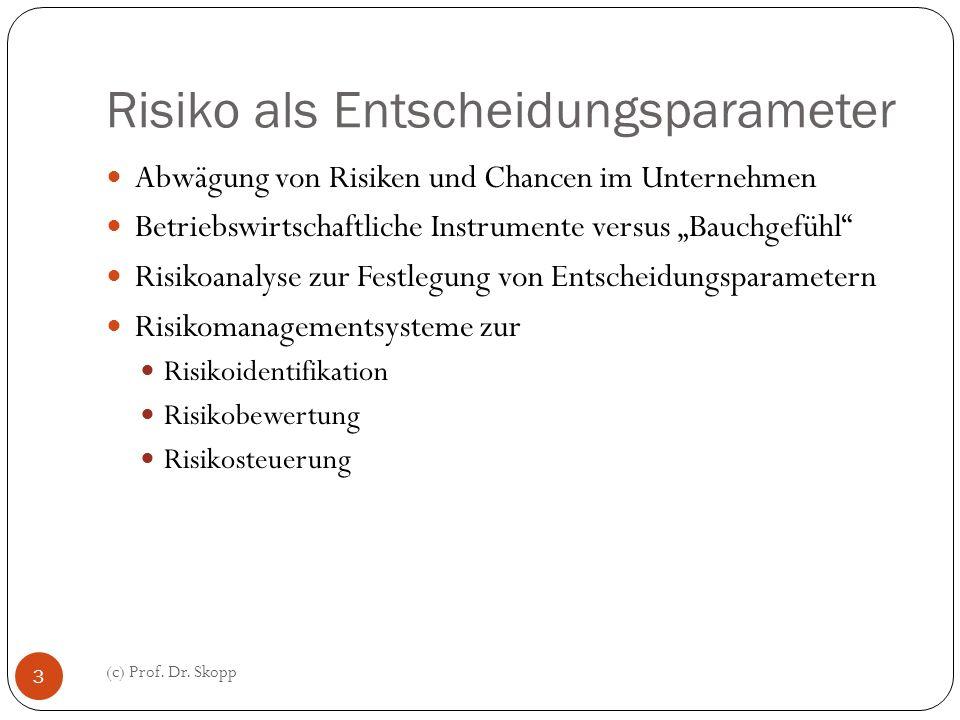 Risiko als Entscheidungsparameter (c) Prof. Dr. Skopp 3 Abwägung von Risiken und Chancen im Unternehmen Betriebswirtschaftliche Instrumente versus Bau
