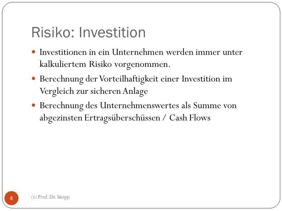 Risiko: Investition Investitionen in ein Unternehmen werden immer unter kalkuliertem Risiko vorgenommen. Berechnung der Vorteilhaftigkeit einer Invest
