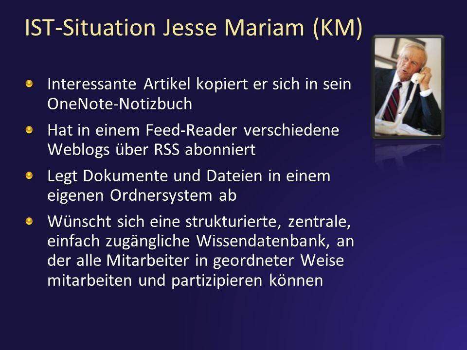 IST-Situation Jesse Mariam (KM) Interessante Artikel kopiert er sich in sein OneNote-Notizbuch Hat in einem Feed-Reader verschiedene Weblogs über RSS