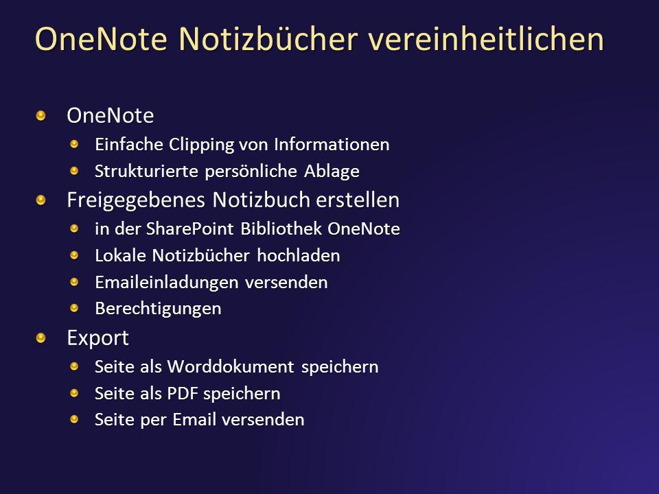 OneNote Notizbücher vereinheitlichen OneNote Einfache Clipping von Informationen Strukturierte persönliche Ablage Freigegebenes Notizbuch erstellen in der SharePoint Bibliothek OneNote Lokale Notizbücher hochladen Emaileinladungen versenden BerechtigungenExport Seite als Worddokument speichern Seite als PDF speichern Seite per Email versenden