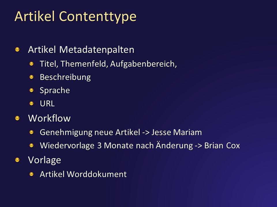 Artikel Contenttype Artikel Metadatenpalten Titel, Themenfeld, Aufgabenbereich, BeschreibungSpracheURLWorkflow Genehmigung neue Artikel -> Jesse Mariam Wiedervorlage 3 Monate nach Änderung -> Brian Cox Vorlage Artikel Worddokument