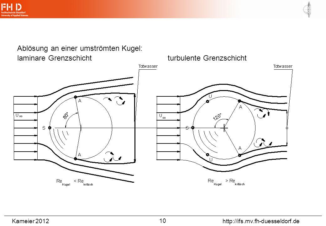 Kameier 2012 http://ifs.mv.fh-duesseldorf.de Ablösung an einer umströmten Kugel: laminare Grenzschichtturbulente Grenzschicht 10