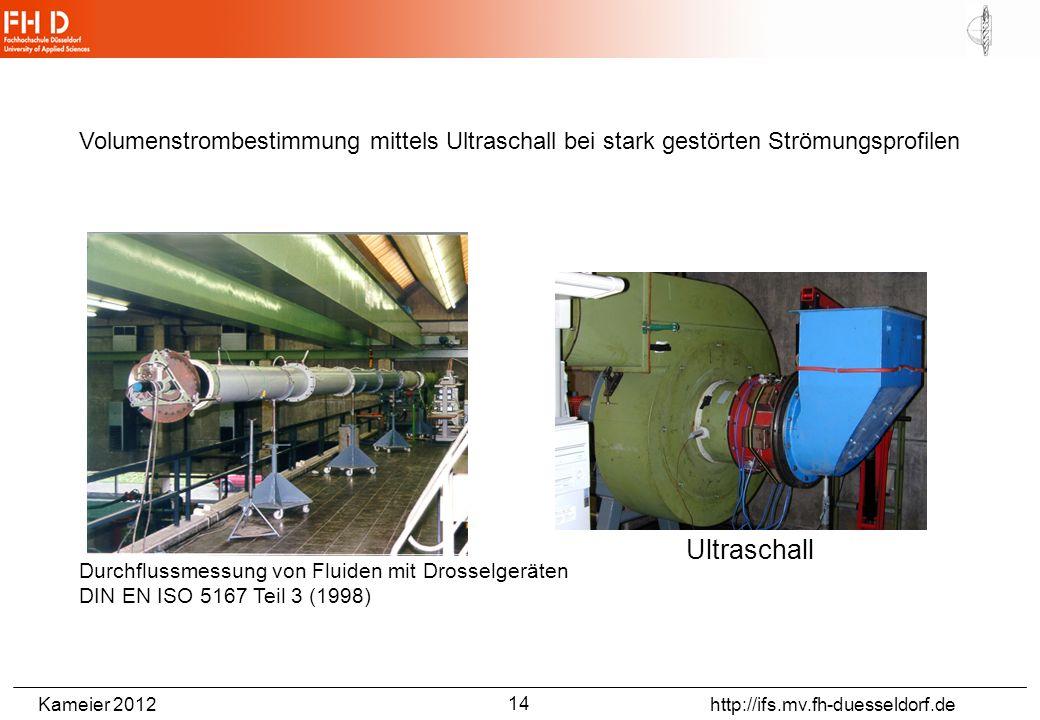 Kameier 2012 http://ifs.mv.fh-duesseldorf.de Volumenstrombestimmung mittels Ultraschall bei stark gestörten Strömungsprofilen Ultraschall Durchflussmessung von Fluiden mit Drosselgeräten DIN EN ISO 5167 Teil 3 (1998) 14