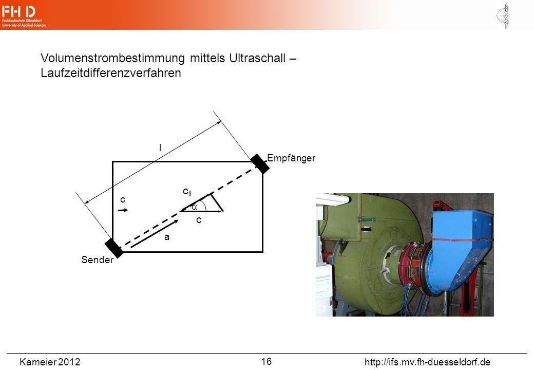 Kameier 2012 http://ifs.mv.fh-duesseldorf.de l a Empfänger Sender c c c ll Volumenstrombestimmung mittels Ultraschall – Laufzeitdifferenzverfahren 16