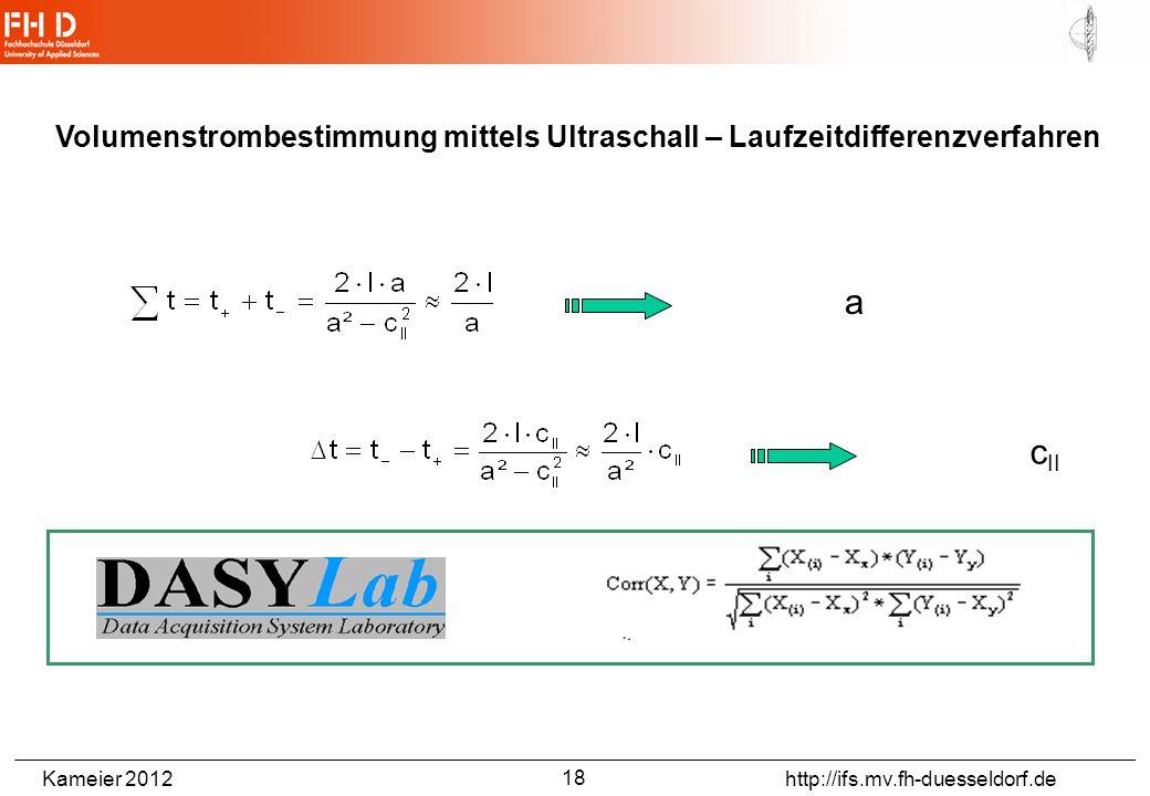 Kameier 2012 http://ifs.mv.fh-duesseldorf.de Volumenstrombestimmung mittels Ultraschall – Laufzeitdifferenzverfahren a c II 18