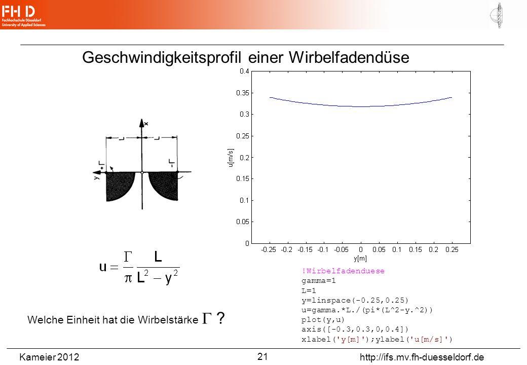 Kameier 2012 http://ifs.mv.fh-duesseldorf.de Geschwindigkeitsprofil einer Wirbelfadendüse !Wirbelfadenduese gamma=1 L=1 y=linspace(-0.25,0.25) u=gamma.*L./(pi*(L^2-y.^2)) plot(y,u) axis([-0.3,0.3,0,0.4]) xlabel( y[m] );ylabel( u[m/s] ) Welche Einheit hat die Wirbelstärke .