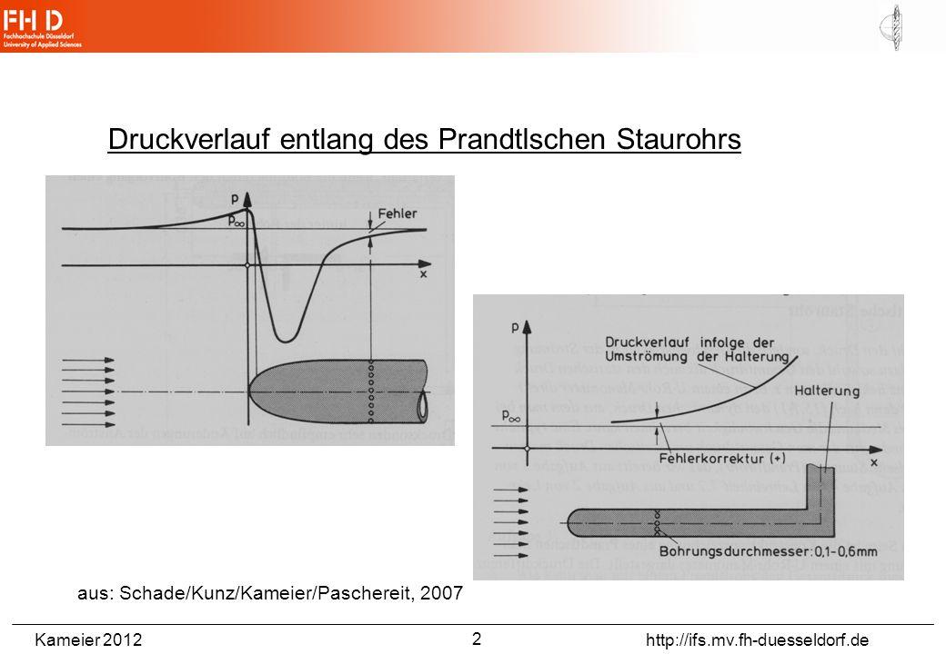 Kameier 2012 http://ifs.mv.fh-duesseldorf.de Druckverlauf entlang des Prandtlschen Staurohrs aus: Schade/Kunz/Kameier/Paschereit, 2007 2