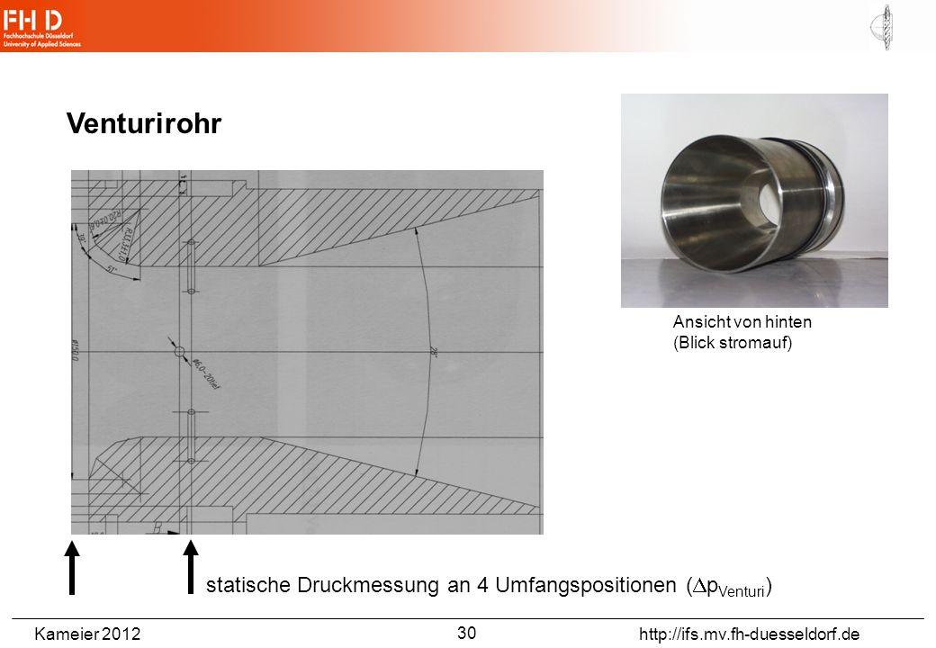 Kameier 2012 http://ifs.mv.fh-duesseldorf.de Venturirohr Ansicht von hinten (Blick stromauf) statische Druckmessung an 4 Umfangspositionen ( p Venturi ) 30