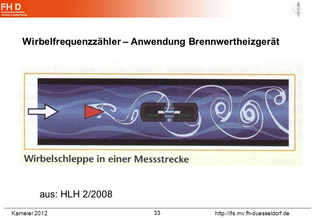 Kameier 2012 http://ifs.mv.fh-duesseldorf.de Wirbelfrequenzzähler – Anwendung Brennwertheizgerät aus: HLH 2/2008 33