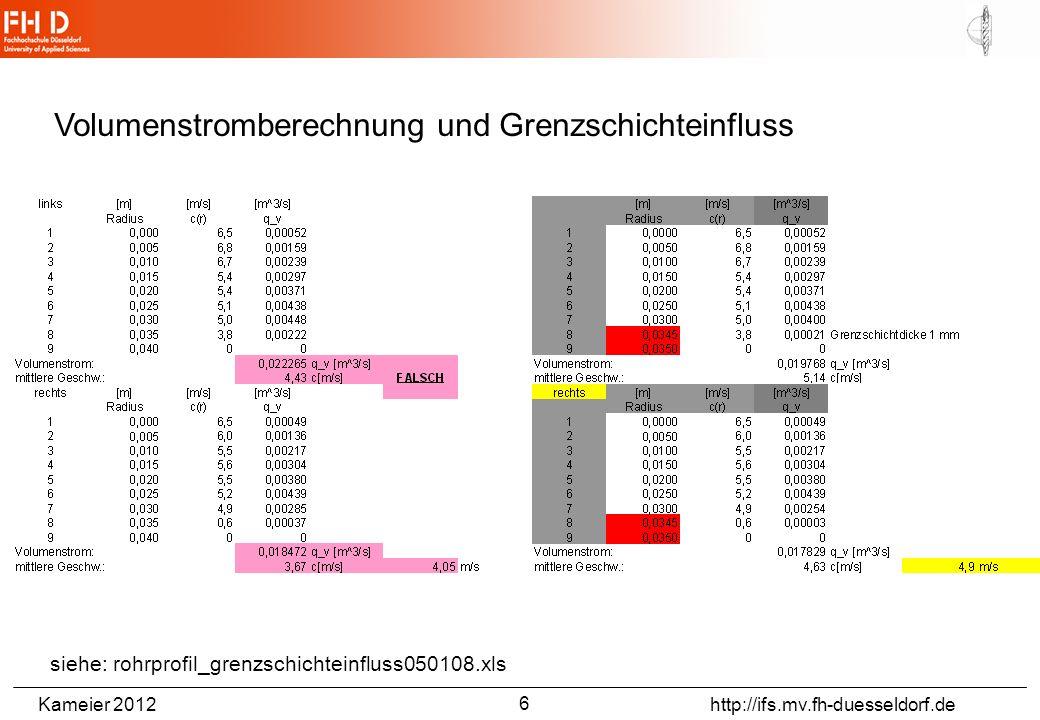 Kameier 2012 http://ifs.mv.fh-duesseldorf.de Volumenstromberechnung und Grenzschichteinfluss siehe: rohrprofil_grenzschichteinfluss050108.xls 6
