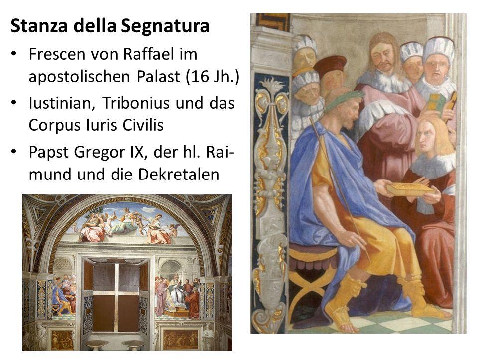 Stanza della Segnatura Frescen von Raffael im apostolischen Palast (16 Jh.) Iustinian, Tribonius und das Corpus Iuris Civilis Papst Gregor IX, der hl.
