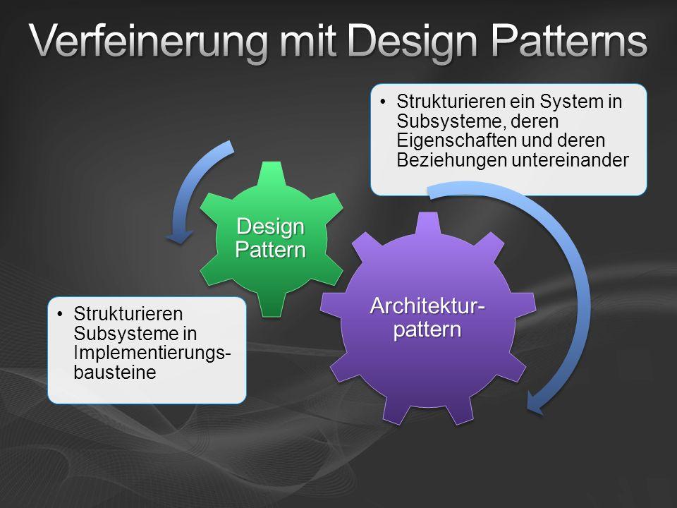 Architektur- pattern Strukturieren ein System in Subsysteme, deren Eigenschaften und deren Beziehungen untereinander Design Pattern Strukturieren Subs