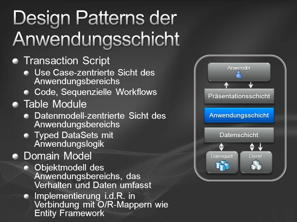 Transaction Script Use Case-zentrierte Sicht des Anwendungsbereichs Code, Sequenzielle Workflows Table Module Datenmodell-zentrierte Sicht des Anwendu