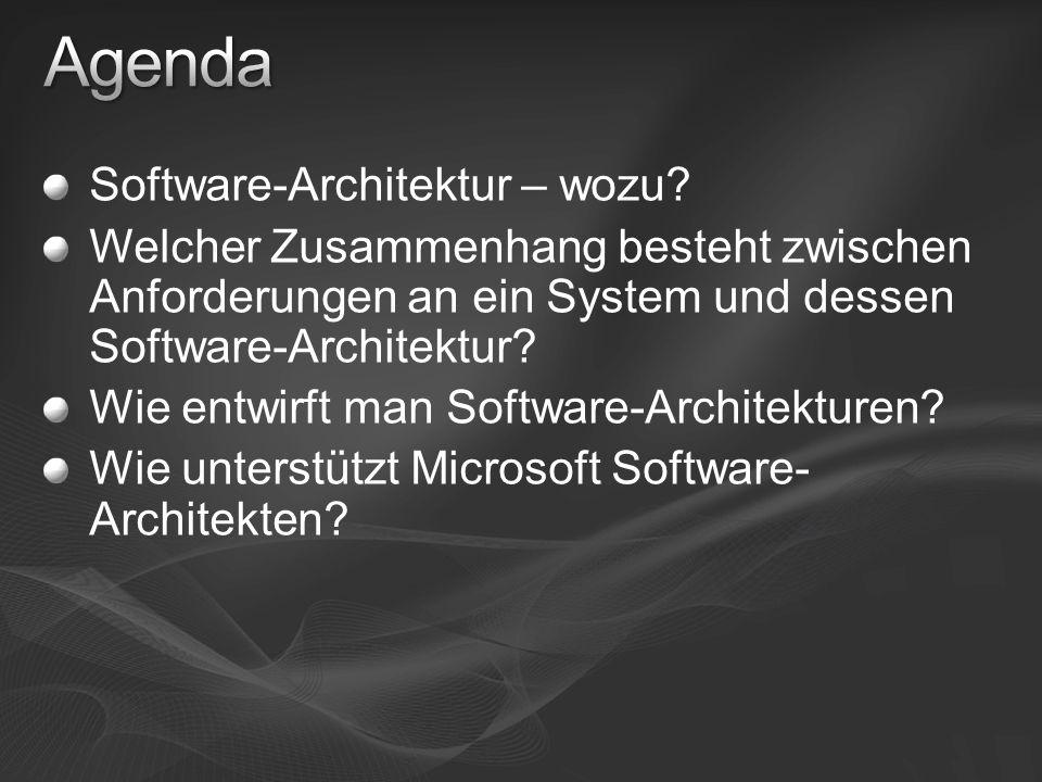 Software-Architektur – wozu? Welcher Zusammenhang besteht zwischen Anforderungen an ein System und dessen Software-Architektur? Wie entwirft man Softw