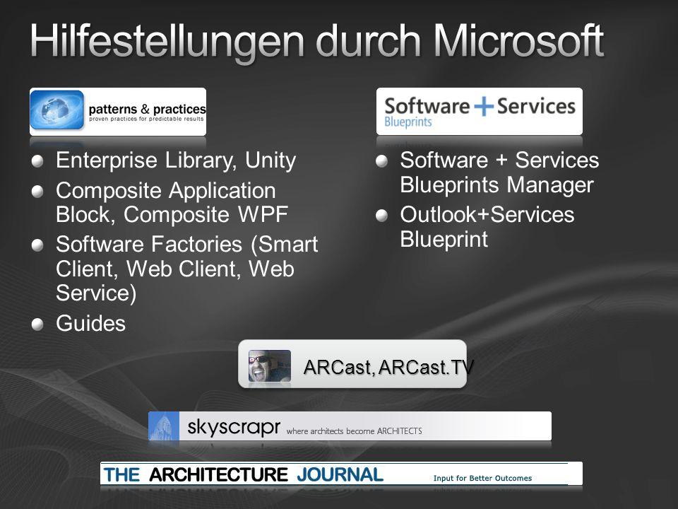 Enterprise Library, Unity Composite Application Block, Composite WPF Software Factories (Smart Client, Web Client, Web Service) Guides Software + Serv