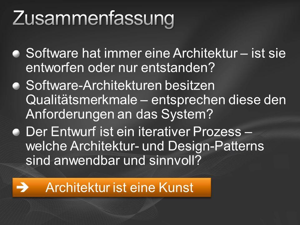 Software hat immer eine Architektur – ist sie entworfen oder nur entstanden? Software-Architekturen besitzen Qualitätsmerkmale – entsprechen diese den