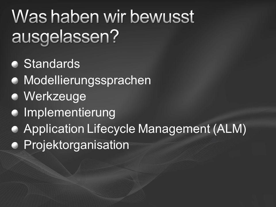 Standards Modellierungssprachen Werkzeuge Implementierung Application Lifecycle Management (ALM) Projektorganisation