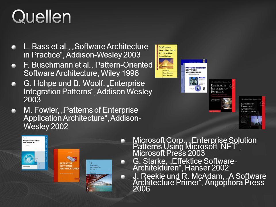 L. Bass et al., Software Architecture in Practice, Addison-Wesley 2003 F. Buschmann et al., Pattern-Oriented Software Architecture, Wiley 1996 G. Hohp