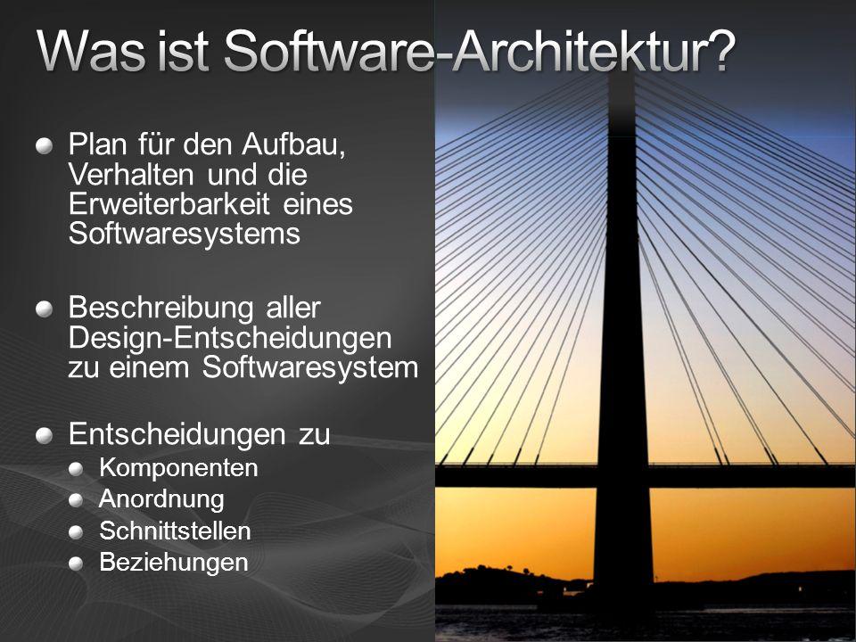 Plan für den Aufbau, Verhalten und die Erweiterbarkeit eines Softwaresystems Beschreibung aller Design-Entscheidungen zu einem Softwaresystem Entschei
