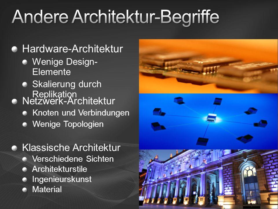 Hardware-Architektur Wenige Design- Elemente Skalierung durch Replikation Netzwerk-Architektur Knoten und Verbindungen Wenige Topologien Klassische Ar