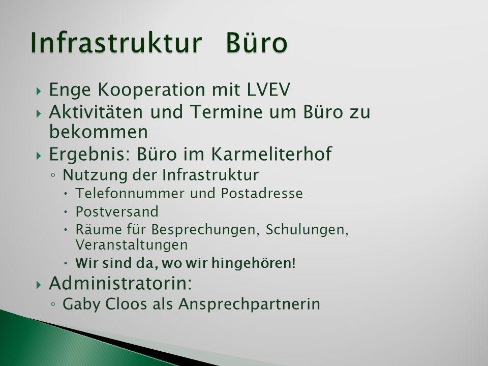 Enge Kooperation mit LVEV Aktivitäten und Termine um Büro zu bekommen Ergebnis: Büro im Karmeliterhof Nutzung der Infrastruktur Telefonnummer und Post