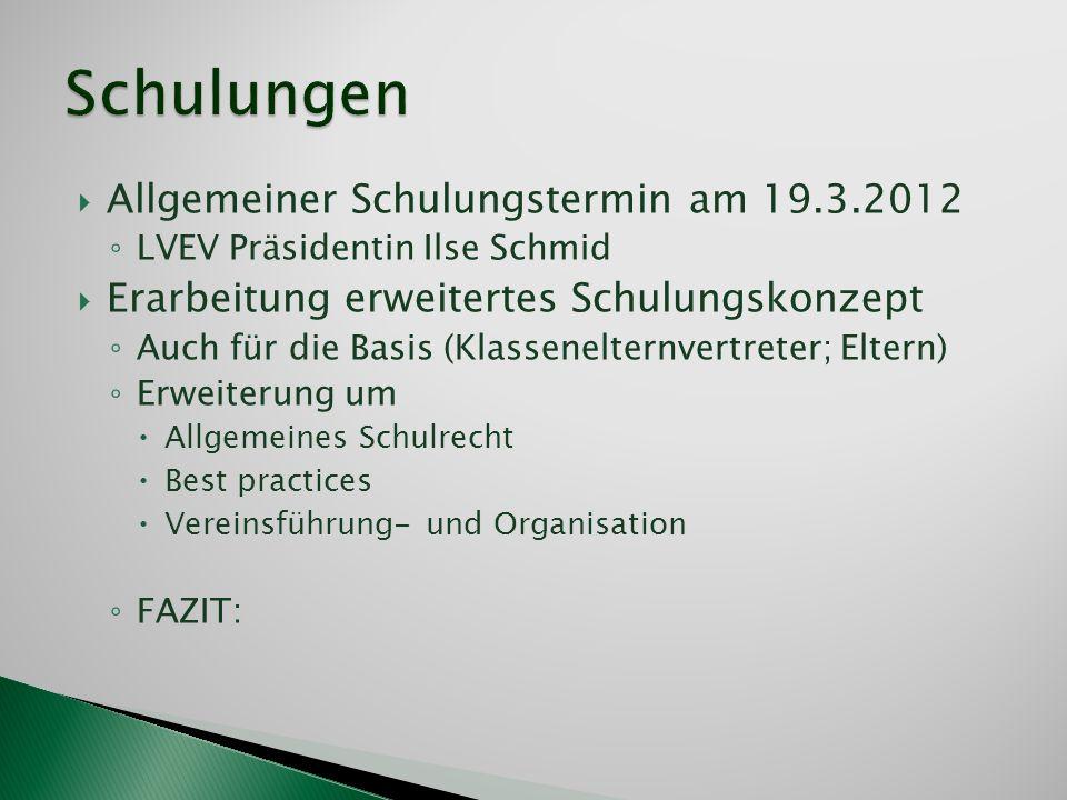 Allgemeiner Schulungstermin am 19.3.2012 LVEV Präsidentin Ilse Schmid Erarbeitung erweitertes Schulungskonzept Auch für die Basis (Klassenelternvertre