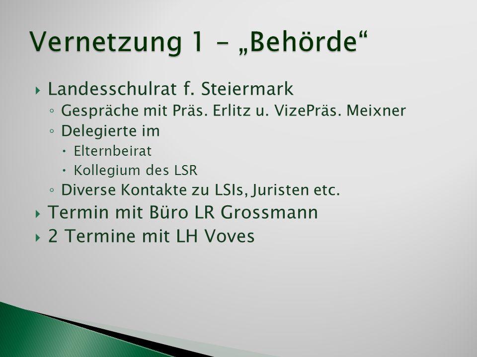 Landesschulrat f. Steiermark Gespräche mit Präs. Erlitz u. VizePräs. Meixner Delegierte im Elternbeirat Kollegium des LSR Diverse Kontakte zu LSIs, Ju