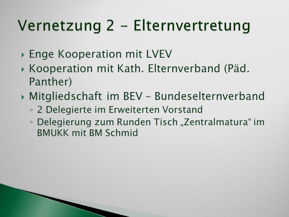 Enge Kooperation mit LVEV Kooperation mit Kath. Elternverband (Päd. Panther) Mitgliedschaft im BEV – Bundeselternverband 2 Delegierte im Erweiterten V