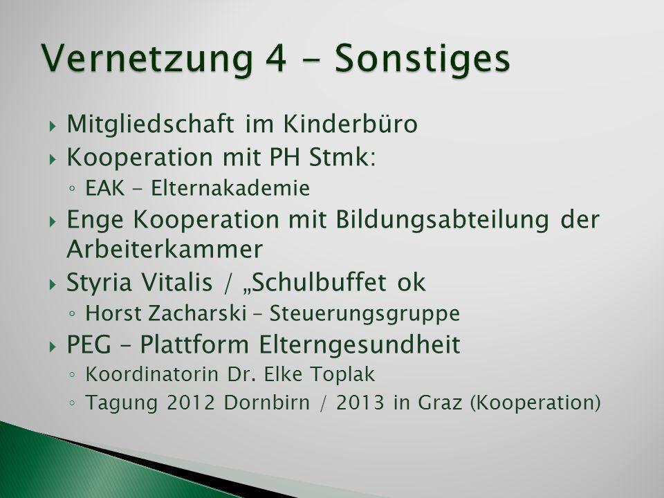 Mitgliedschaft im Kinderbüro Kooperation mit PH Stmk: EAK - Elternakademie Enge Kooperation mit Bildungsabteilung der Arbeiterkammer Styria Vitalis /