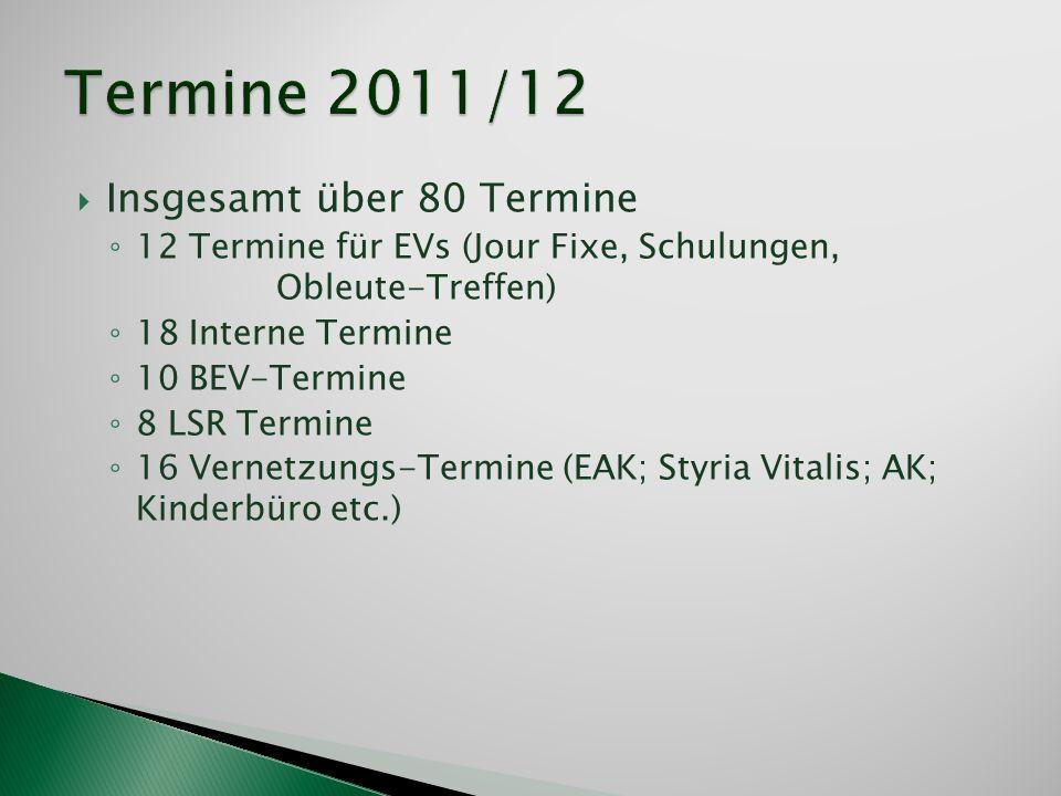 Insgesamt über 80 Termine 12 Termine für EVs (Jour Fixe, Schulungen, Obleute-Treffen) 18 Interne Termine 10 BEV-Termine 8 LSR Termine 16 Vernetzungs-T