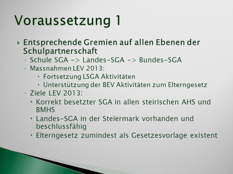 Entsprechende Gremien auf allen Ebenen der Schulpartnerschaft Schule SGA -> Landes-SGA -> Bundes-SGA Massnahmen LEV 2013: Fortsetzung LSGA Aktivitäten
