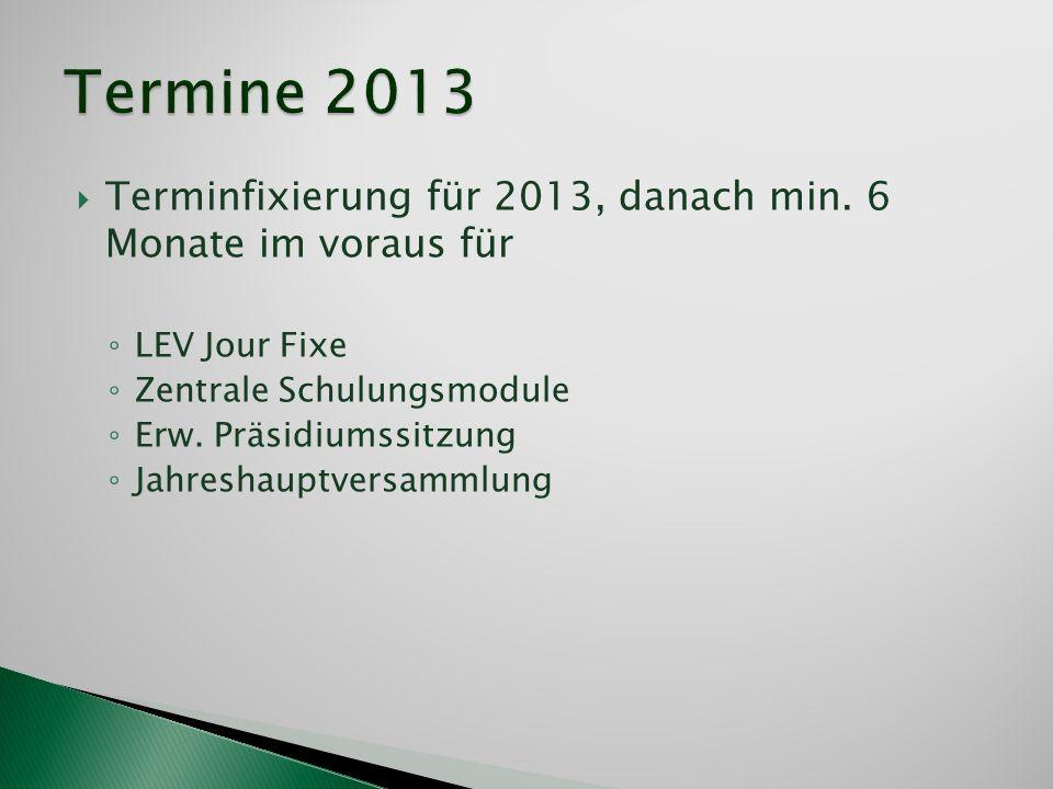 Terminfixierung für 2013, danach min. 6 Monate im voraus für LEV Jour Fixe Zentrale Schulungsmodule Erw. Präsidiumssitzung Jahreshauptversammlung