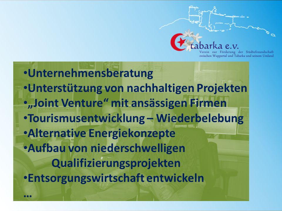 Unternehmensberatung Unterstützung von nachhaltigen Projekten Joint Venture mit ansässigen Firmen Tourismusentwicklung – Wiederbelebung Alternative Energiekonzepte Aufbau von niederschwelligen Qualifizierungsprojekten Entsorgungswirtschaft entwickeln …
