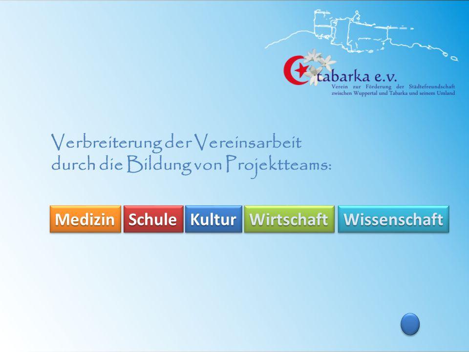 Verbreiterung der Vereinsarbeit durch die Bildung von Projektteams: Medizin Schule Kultur Wirtschaft Wissenschaft