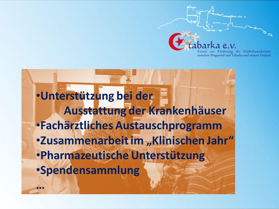 Unterstützung bei der Ausstattung der Krankenhäuser Fachärztliches Austauschprogramm Zusammenarbeit im Klinischen Jahr Pharmazeutische Unterstützung S