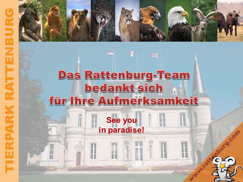 TIERPARK RATTENBURG Kontakt Direktor –Dr. Paul Glückshafen paul.glueckshafen@rattenburg.biz Marketing –Mag. Sonja Emsig sonja.emsig@rattenburg.biz For