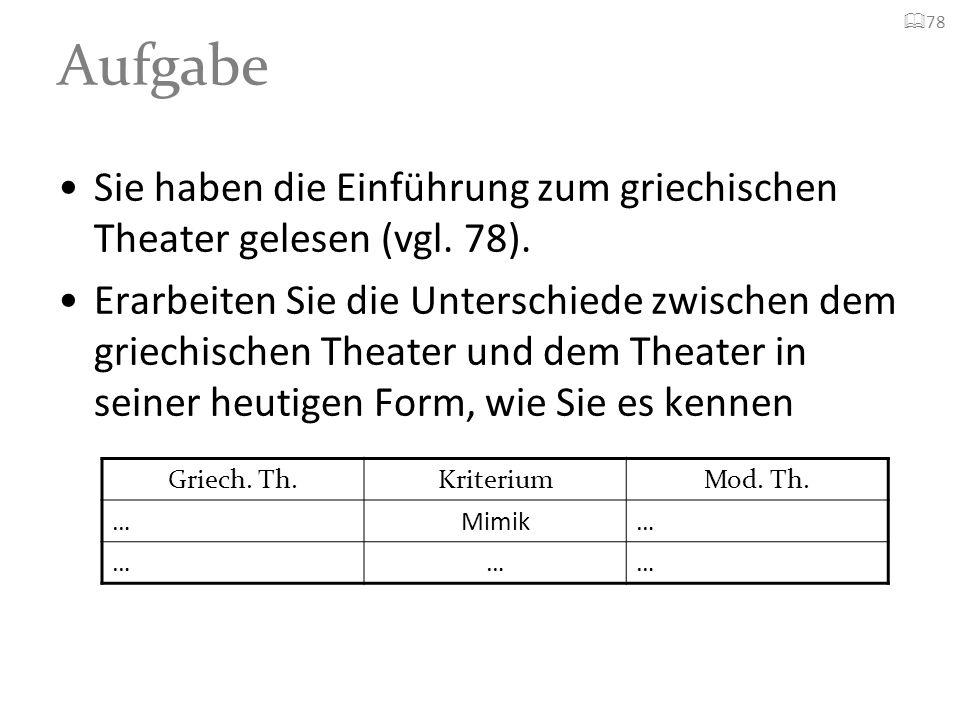 Aufgabe Sie haben die Einführung zum griechischen Theater gelesen (vgl. 78). Erarbeiten Sie die Unterschiede zwischen dem griechischen Theater und dem