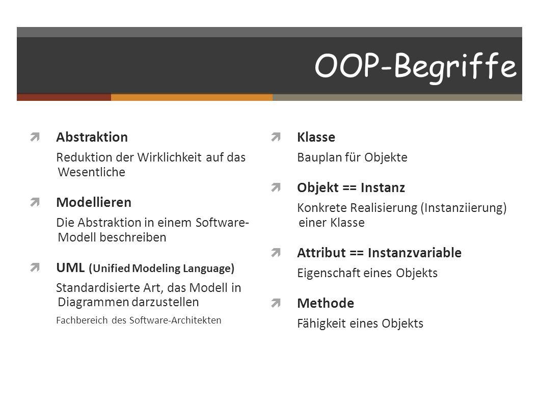 OOP-Begriffe Abstraktion Reduktion der Wirklichkeit auf das Wesentliche Modellieren Die Abstraktion in einem Software- Modell beschreiben UML (Unified