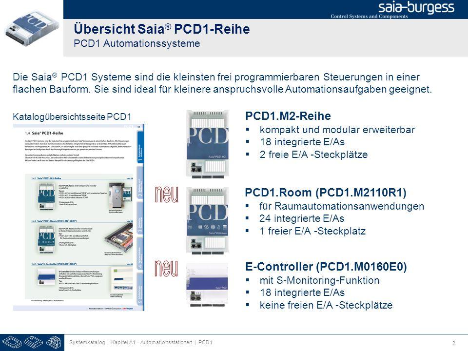 2 Übersicht Saia ® PCD1-Reihe PCD1 Automationssysteme Systemkatalog | Kapitel A1 – Automationsstationen | PCD1 Katalogübersichtsseite PCD1 PCD1.M2-Reihe kompakt und modular erweiterbar 18 integrierte E/As 2 freie E/A -Steckplätze PCD1.Room (PCD1.M2110R1) für Raumautomationsanwendungen 24 integrierte E/As 1 freier E/A -Steckplatz E-Controller (PCD1.M0160E0) mit S-Monitoring-Funktion 18 integrierte E/As keine freien E/A -Steckplätze Die Saia ® PCD1 Systeme sind die kleinsten frei programmierbaren Steuerungen in einer flachen Bauform.