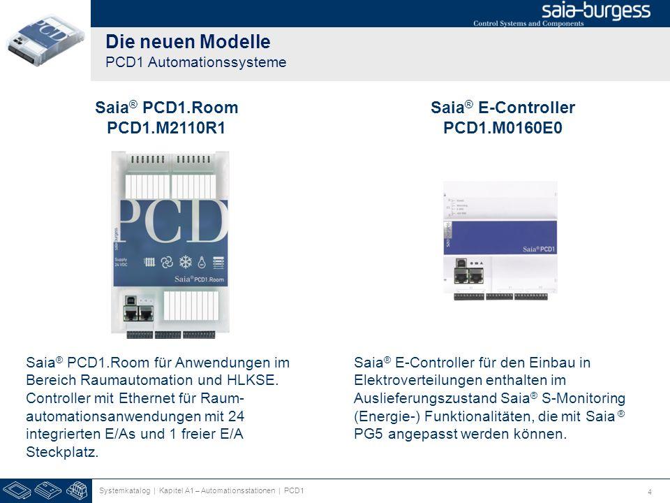 4 Die neuen Modelle PCD1 Automationssysteme Systemkatalog | Kapitel A1 – Automationsstationen | PCD1 Saia ® PCD1.Room PCD1.M2110R1 Saia ® E-Controller PCD1.M0160E0 Saia ® PCD1.Room für Anwendungen im Bereich Raumautomation und HLKSE.