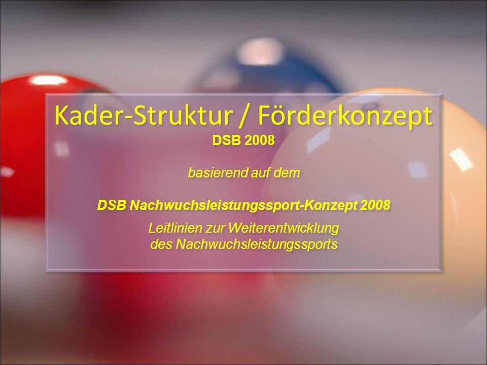 Kader-Struktur / Förderkonzept DSB 2008 basierend auf dem DSB Nachwuchsleistungssport-Konzept 2008 Leitlinien zur Weiterentwicklung des Nachwuchsleist