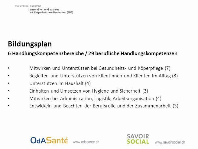 Bildungsplan 6 Handlungskompetenzbereiche / 29 berufliche Handlungskompetenzen Mitwirken und Unterstützen bei Gesundheits- und Köperpflege (7) Begleit