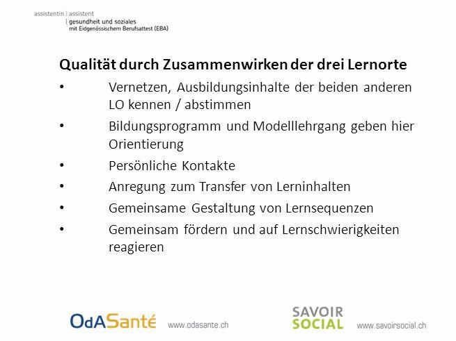 Qualität durch Zusammenwirken der drei Lernorte Vernetzen, Ausbildungsinhalte der beiden anderen LO kennen / abstimmen Bildungsprogramm und Modelllehr