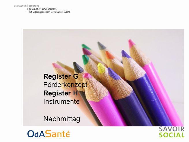 Regiser F Modell - Lehrgang Register G Förderkonzept Register H Instrumente Nachmittag