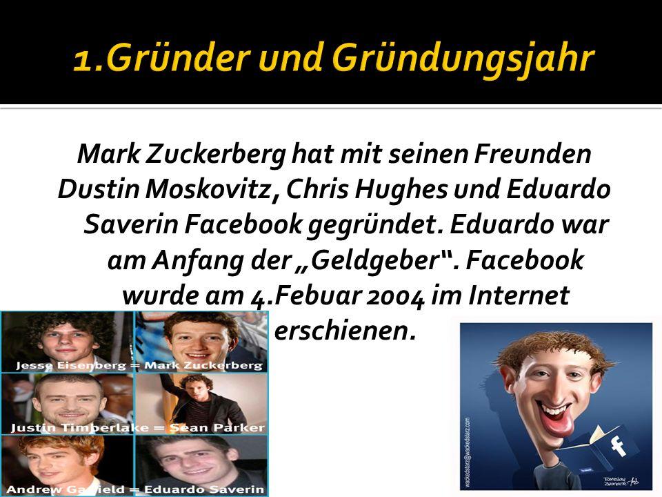 1.Gründer und Gründungsjahr 2.Zielgruppe 3.Informationen Über Facebook 4.Sicherheit der User 5.Funktionen 6.Aufbau der Seite 7.AGBs 8.Quellen 9.Ende