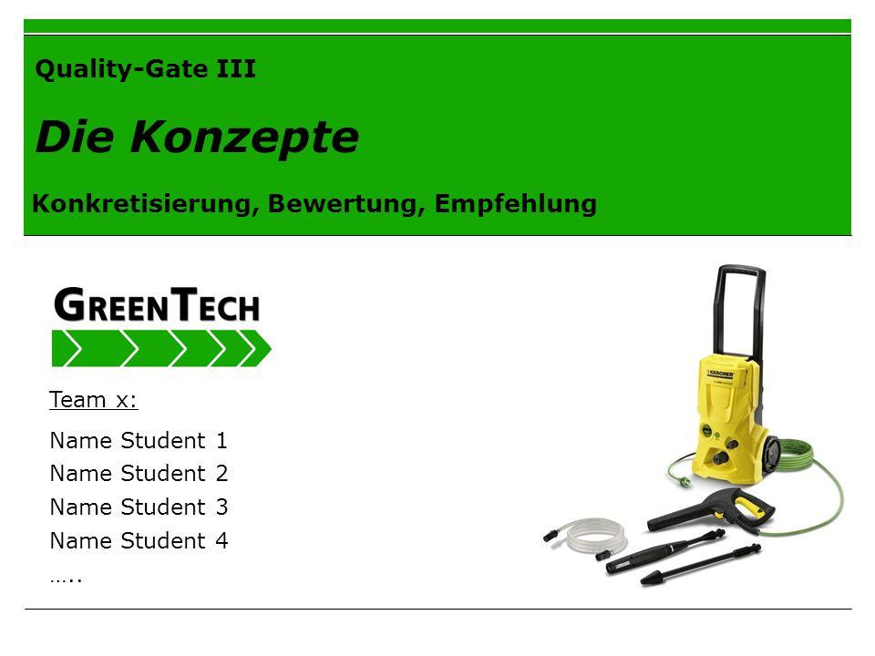Quality-Gate III Die Konzepte Konkretisierung, Bewertung, Empfehlung Team x: Name Student 1 Name Student 2 Name Student 3 Name Student 4 …..
