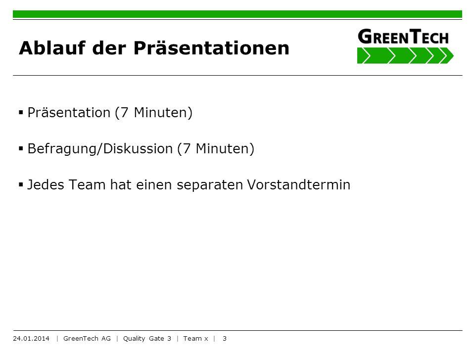 3 Ablauf der Präsentationen Präsentation (7 Minuten) Befragung/Diskussion (7 Minuten) Jedes Team hat einen separaten Vorstandtermin 24.01.2014 | GreenTech AG | Quality Gate 3 | Team x |